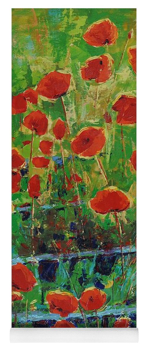Poppies Yoga Mat featuring the painting Poppies And Traverses 1 by Iliyan Bozhanov