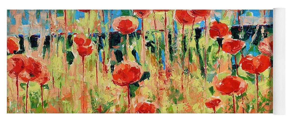 Poppies Yoga Mat featuring the painting Poppies And Traverses 2 by Iliyan Bozhanov