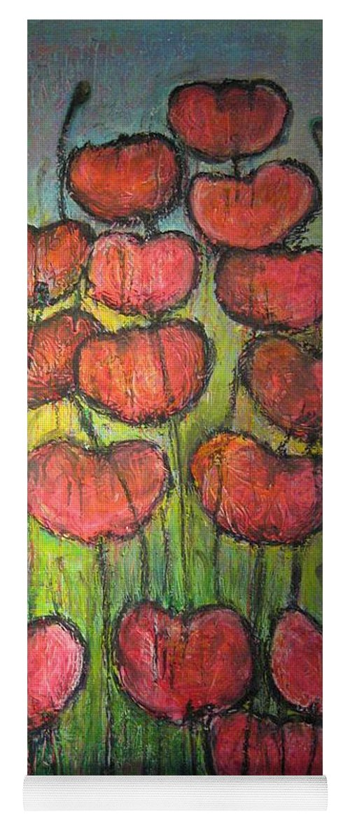 Poppies Yoga Mat featuring the painting Poppies In Oil by Laurie Maves ART