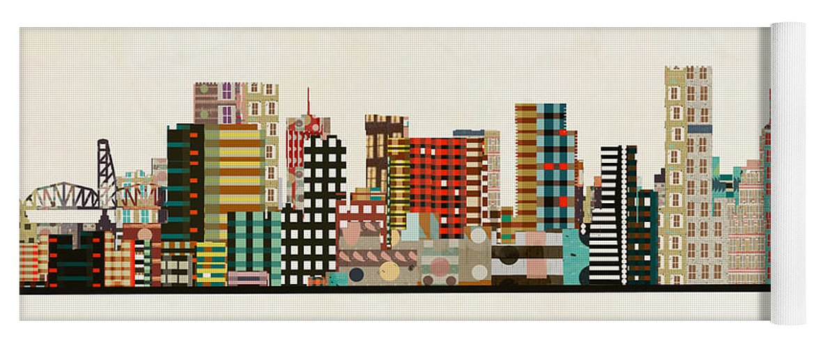 Portland Yoga Mat featuring the painting Portland Skyline by Bri Buckley