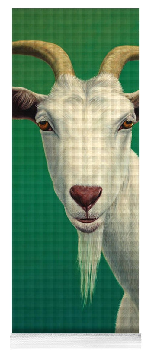Goat Yoga Mat featuring the painting Portrait of a Goat by James W Johnson