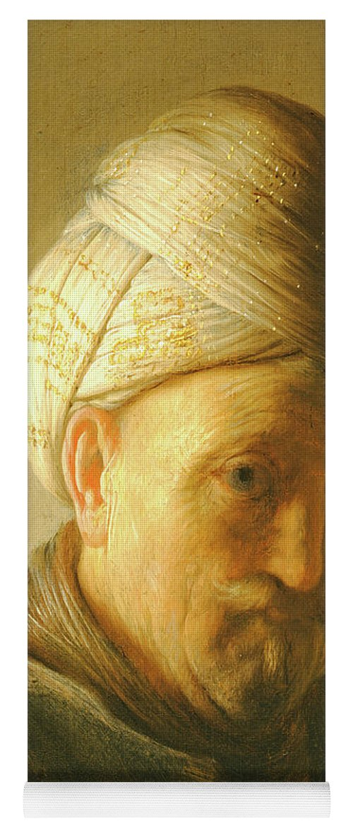 Rembrandt Yoga Mat featuring the painting Portrait Of A Man In A Turban by Rembrandt