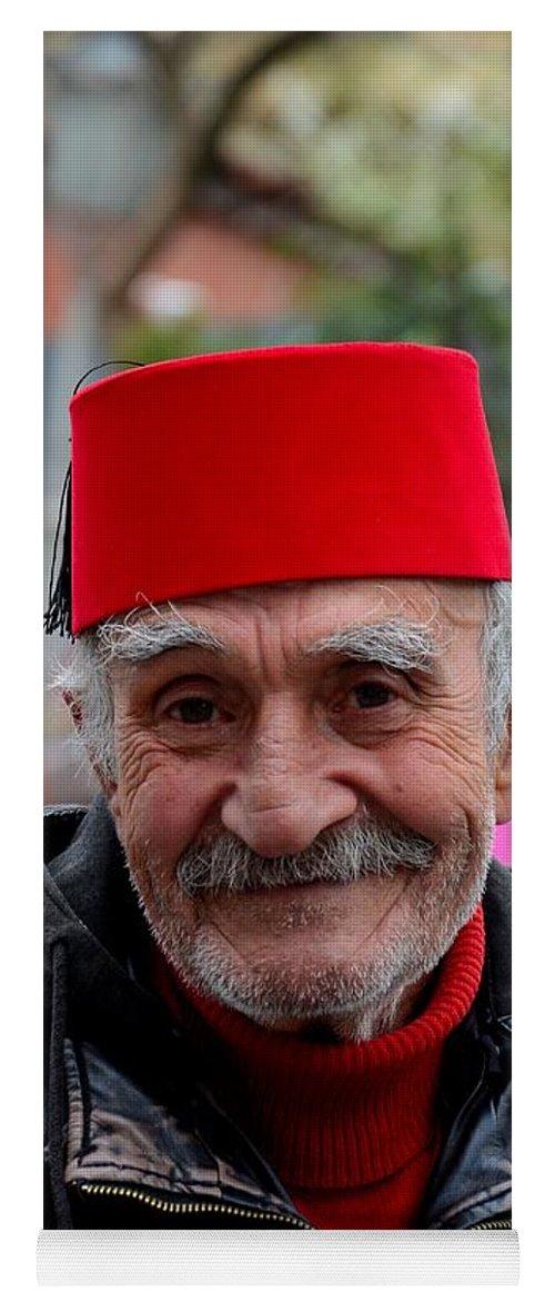 Portrait Of Turkish Senior Wears Fez And Leather Jacket Smiles Istanbul  Turkey Yoga Mat