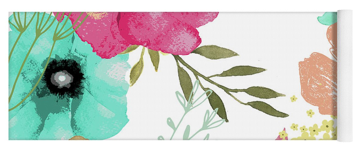 Flowers Yoga Mat featuring the painting Posy by Mindy Sommers