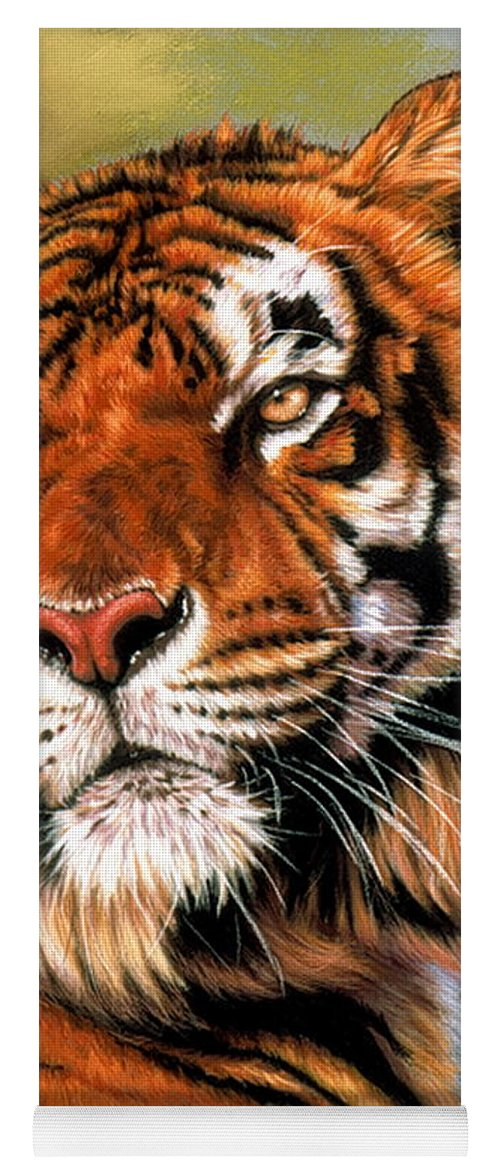 Tiger Yoga Mat featuring the pastel Power and Grace by Barbara Keith