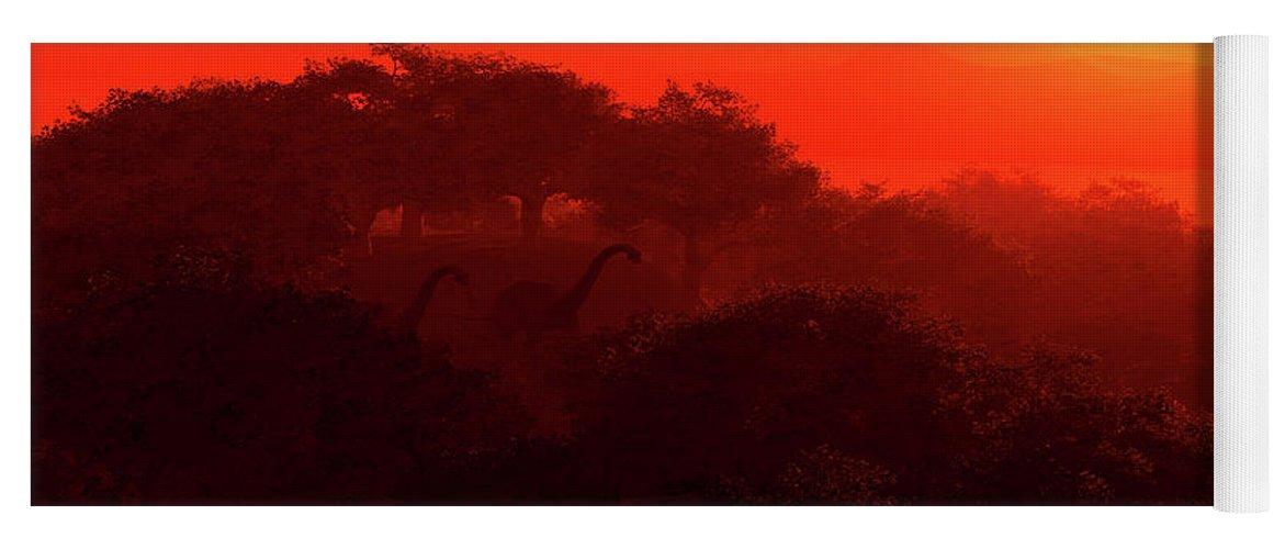 Fantasy Yoga Mat featuring the digital art Prehistoric Dawn by David Lane