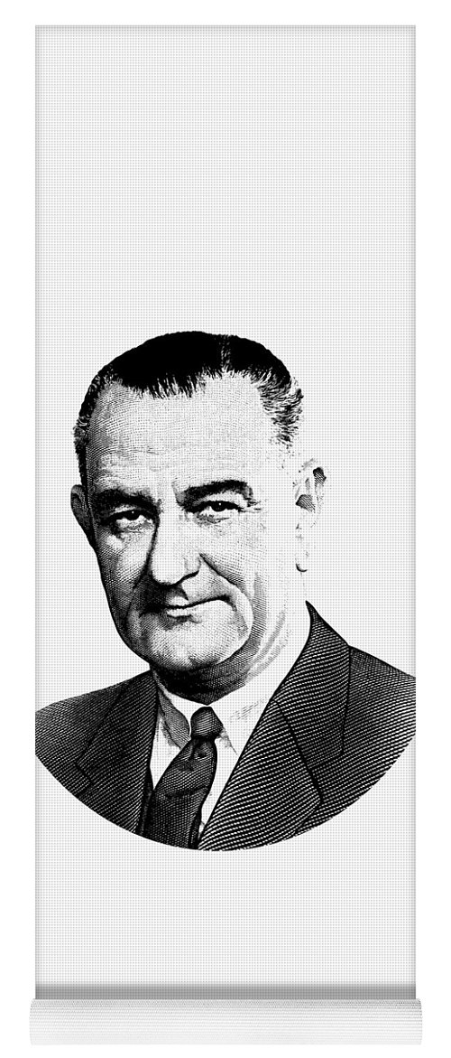 President Lyndon Johnson Yoga Mat featuring the digital art President Lyndon Johnson Graphic - Black And White by War Is Hell Store