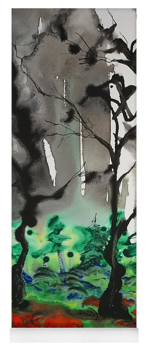 Forest Yoga Mat featuring the painting Primary Forest by Nadine Rippelmeyer