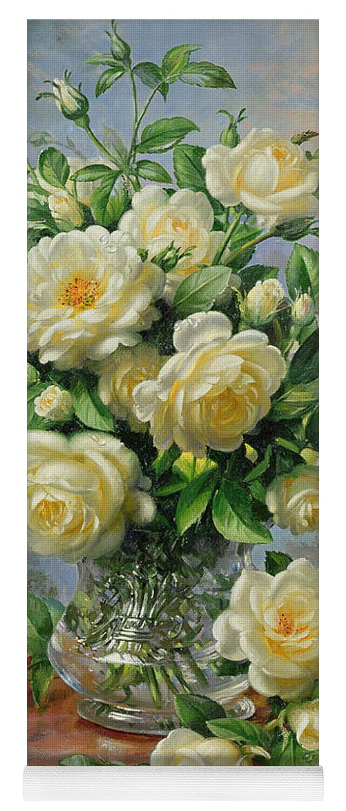 In Honour Of Lady Diana Spencer (1961-97); Still Life; Flower; Rose; Arrangement; Princess Of Wales (1981-96); Homage; Yellow; Flowers; Leafs Yoga Mat featuring the painting Princess Diana Roses In A Cut Glass Vase by Albert Williams