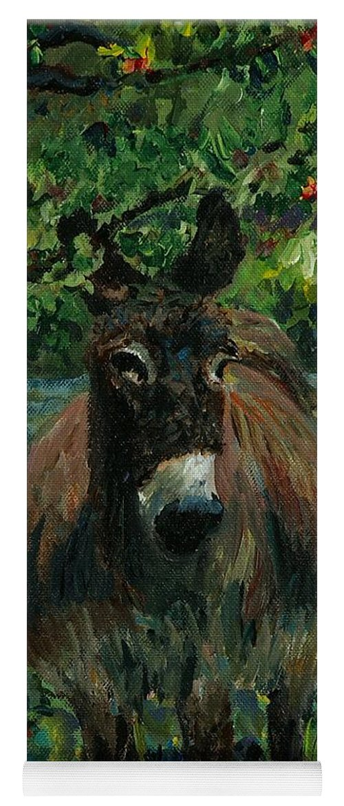 Donkey Yoga Mat featuring the painting Provence Donkey by Nadine Rippelmeyer