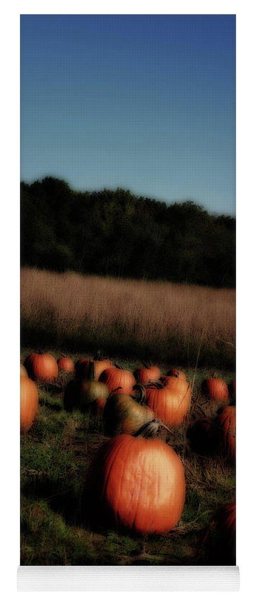 Field Yoga Mat featuring the photograph Pumpkin Field Shadows by Karen Adams