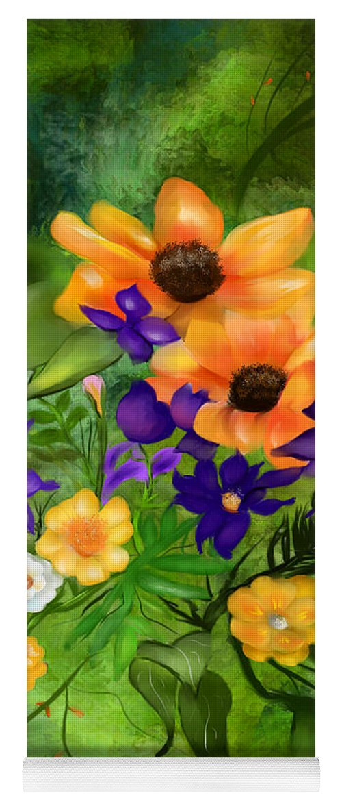 Style Of Flowers Yoga Mat featuring the painting Purple And Orange Flowers by Mia Hansen Plan - Simple orange flower painting