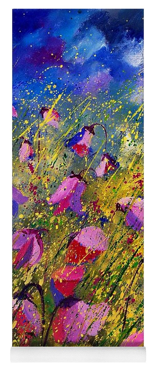 Poppies Yoga Mat featuring the painting Purple Wild Flowers by Pol Ledent