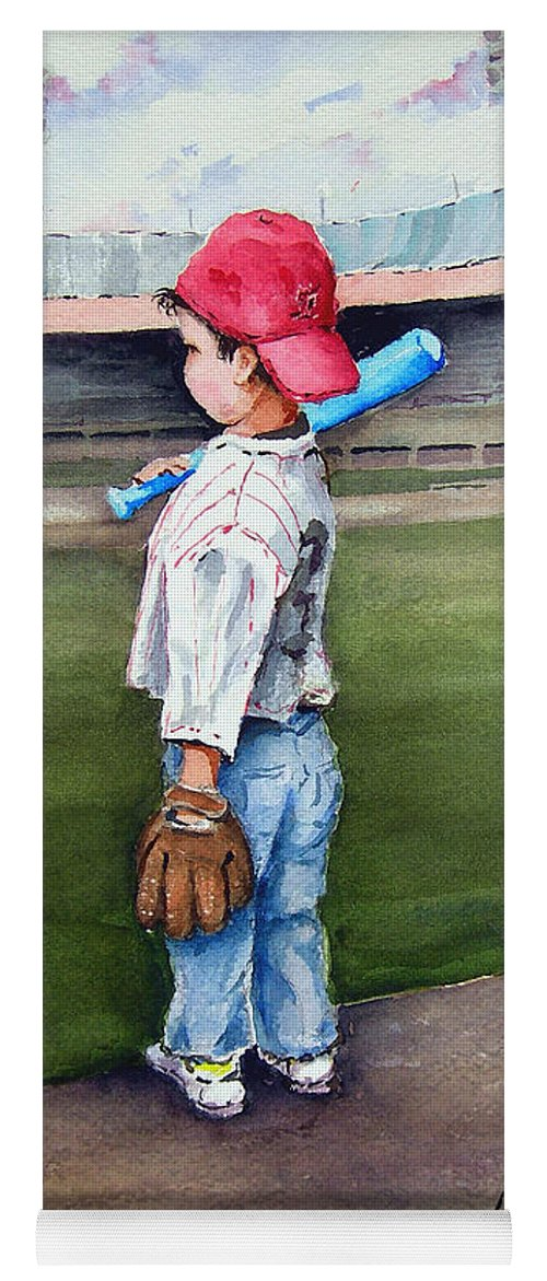 Baseball Yoga Mat featuring the painting Put Me In Coach by Sam Sidders
