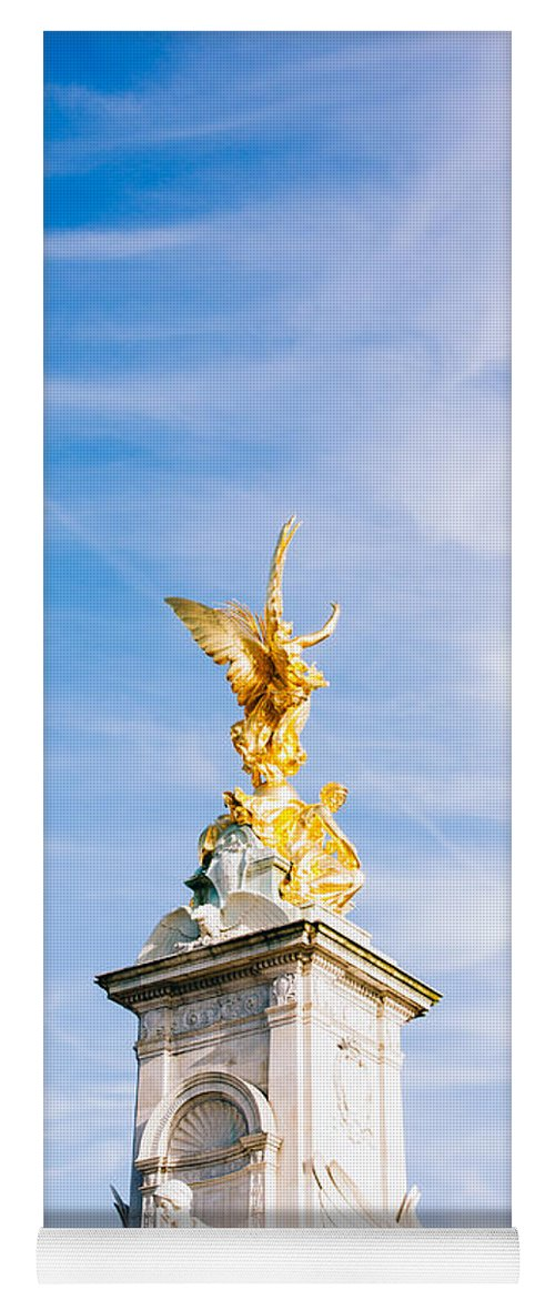 Queen Victoria Memorial Yoga Mat featuring the photograph Queen Victoria Memorial Golden Statue by Pati Photography