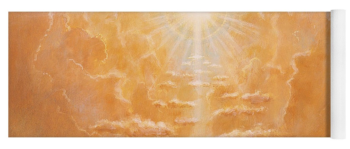 Sun; Sunlight; Rays; Cloud; Clouds; Sky; Bright; Sun Rays; Radiating;spirit; Spiritual; God; Cross; Light; Hope; God Yoga Mat featuring the painting Radiance by Simon Cook