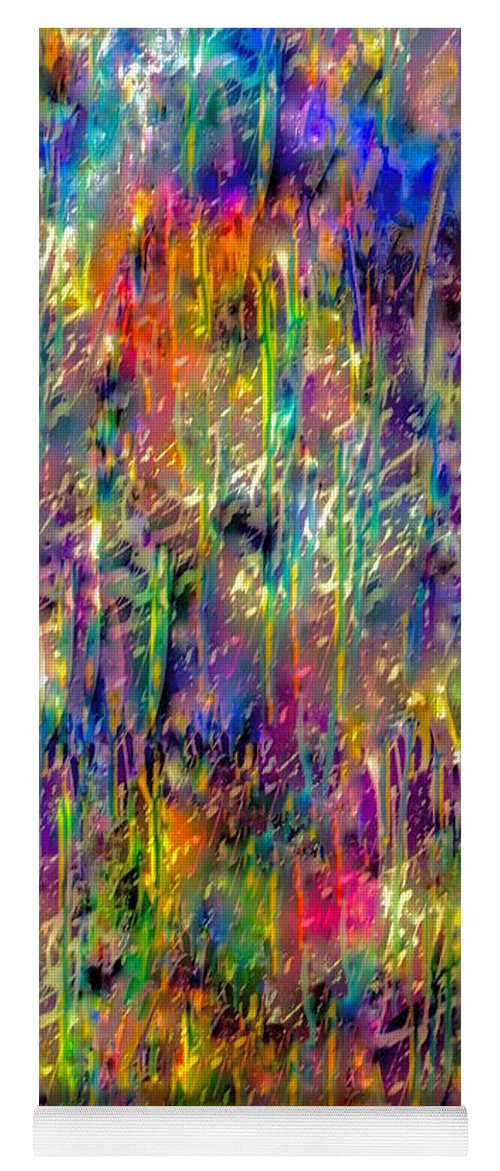 Abstract Painting Yoga Mat featuring the mixed media Rain On The Poppy Field by Catalina Walker