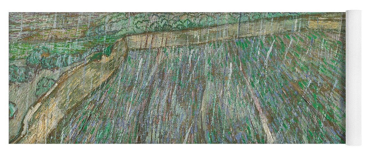 Van Gogh Yoga Mat featuring the painting Rain by Vincent van Gogh