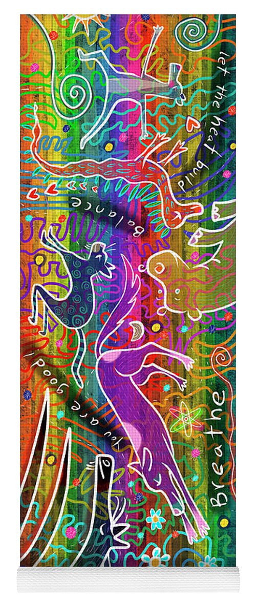 Rainbow Yoga Mat featuring the digital art Rainbow Animals Yoga Mat by Marti McGinnis