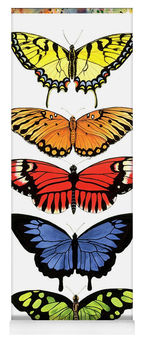 Butterflies Yoga Mat featuring the painting Rainbow Butterflies by Lucy Arnold
