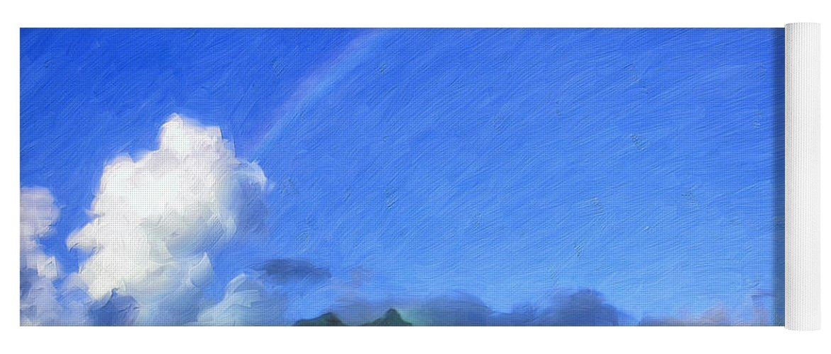 Rainbow Yoga Mat featuring the painting Rainbow Over Bora Bora by Dominic Piperata