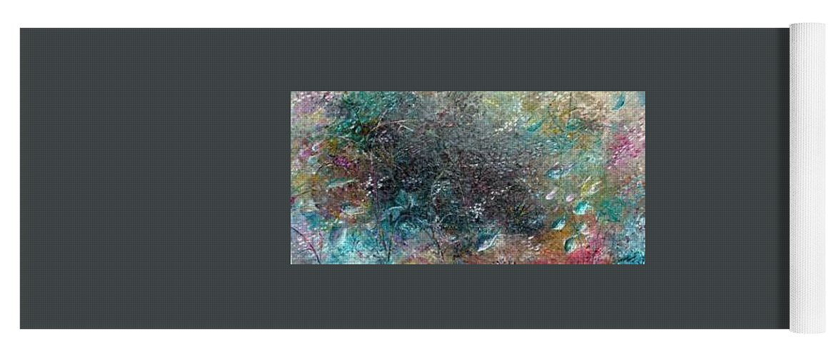 Original Abstract Painting Of Under The Sea Yoga Mat featuring the painting Rainbow Reef by Karin Dawn Kelshall- Best