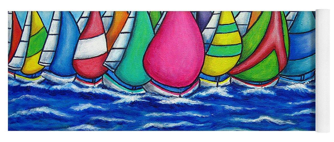 Boats Yoga Mat featuring the painting Rainbow Regatta by Lisa Lorenz
