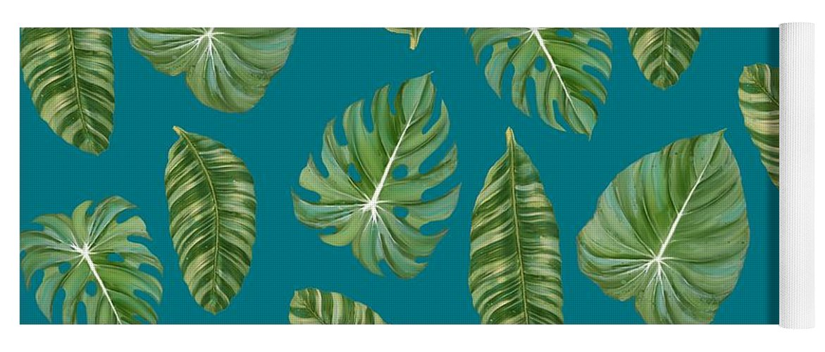 Tropical Yoga Mat featuring the painting Rainforest Resort - Tropical Leaves Elephant's Ear Philodendron Banana Leaf by Audrey Jeanne Roberts