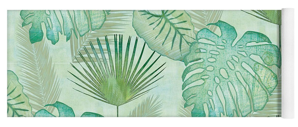 Rain Yoga Mat featuring the painting Rainforest Tropical - Elephant Ear And Fan Palm Leaves Repeat Pattern by Audrey Jeanne Roberts