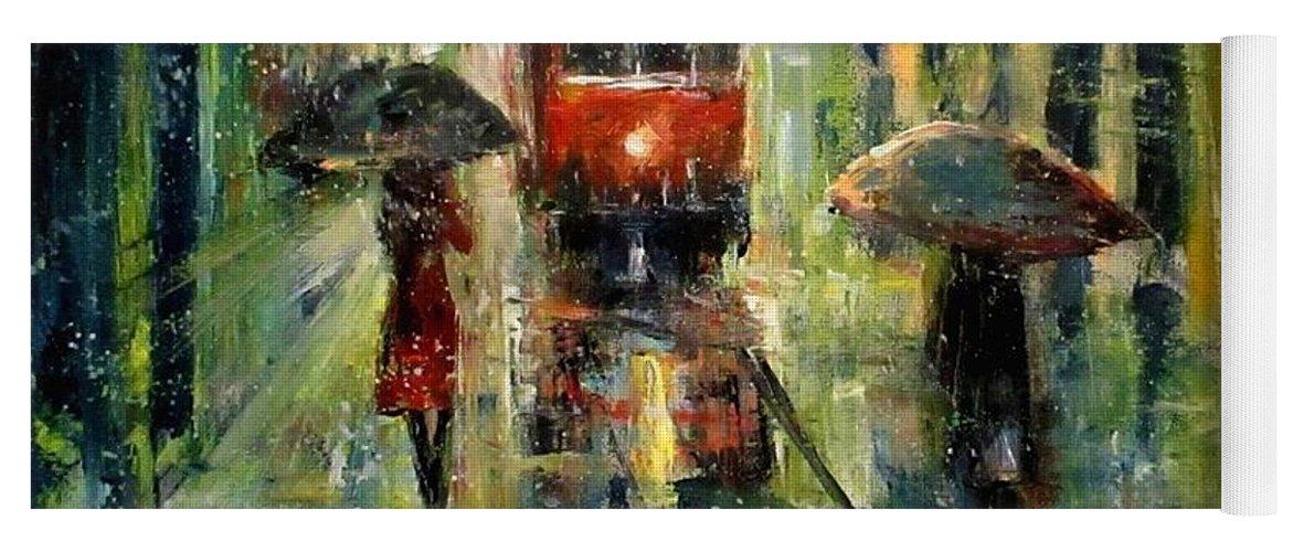 Landscape Yoga Mat featuring the painting Rainy Fantasy by Natalja Picugina