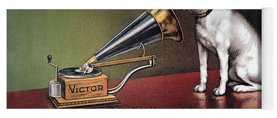 1920 Yoga Mat featuring the photograph Rca Victor Trademark by Granger