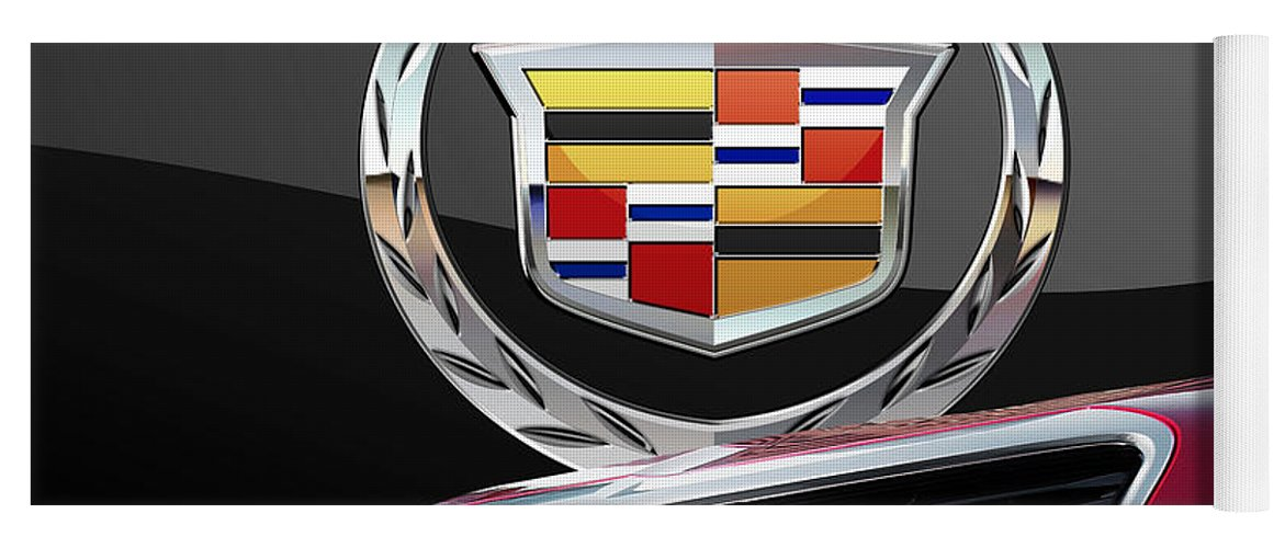 'auto Badges' By Serge Averbukh Yoga Mat featuring the photograph Red Cadillac C T S - Front Grill Ornament and 3D Badge on Black by Serge Averbukh
