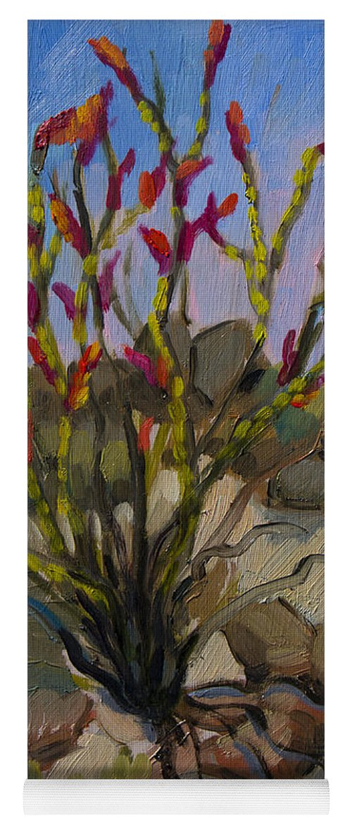 Ocotillo Yoga Mat featuring the painting Red Flame Ocotillo 5 by Diane McClary
