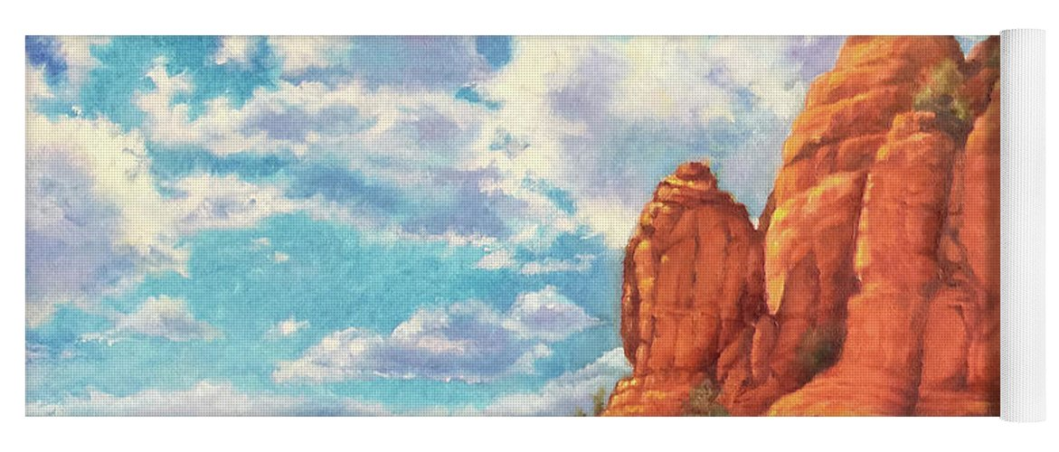 Sedona Yoga Mat featuring the painting Red Rocks by Teri Rosario