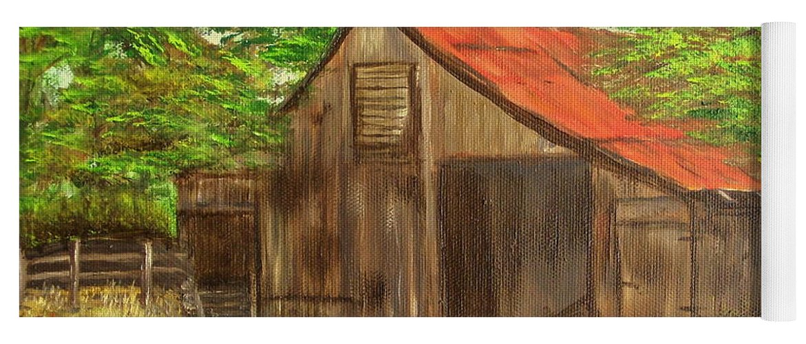 Landscape Yoga Mat featuring the painting Red Roof Barn by Kenneth LePoidevin