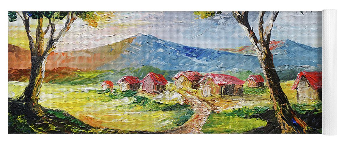 House Yoga Mat featuring the painting Red Roofs by Anthony Mwangi