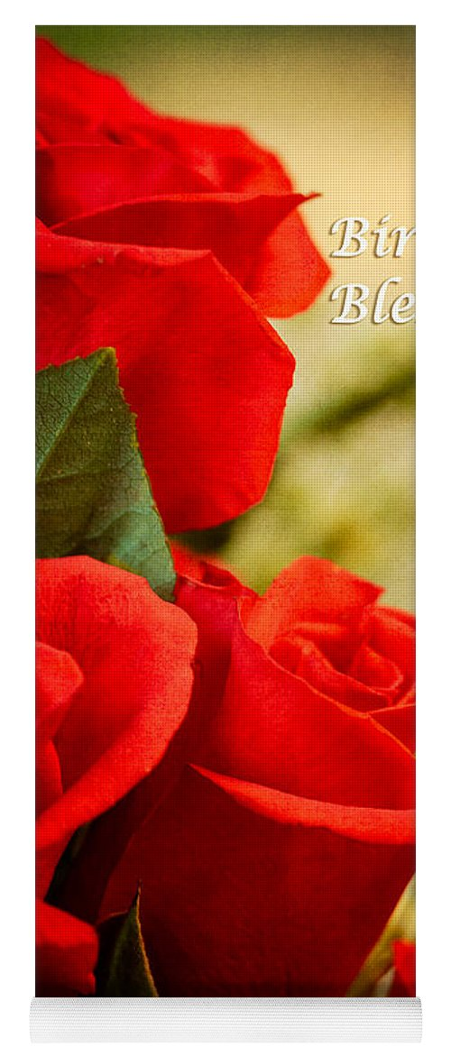 Flowers Yoga Mat Featuring The Photograph Red Rose Birthday Greeting Card By Joni Eskridge