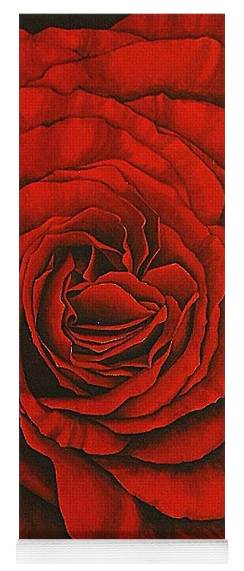 Red Yoga Mat featuring the painting Red Rose II by Rowena Finn