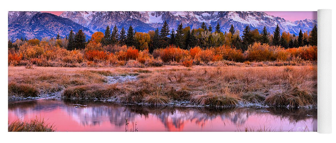 Grand Teton Yoga Mat featuring the photograph Red Tip On The Grand by Adam Jewell