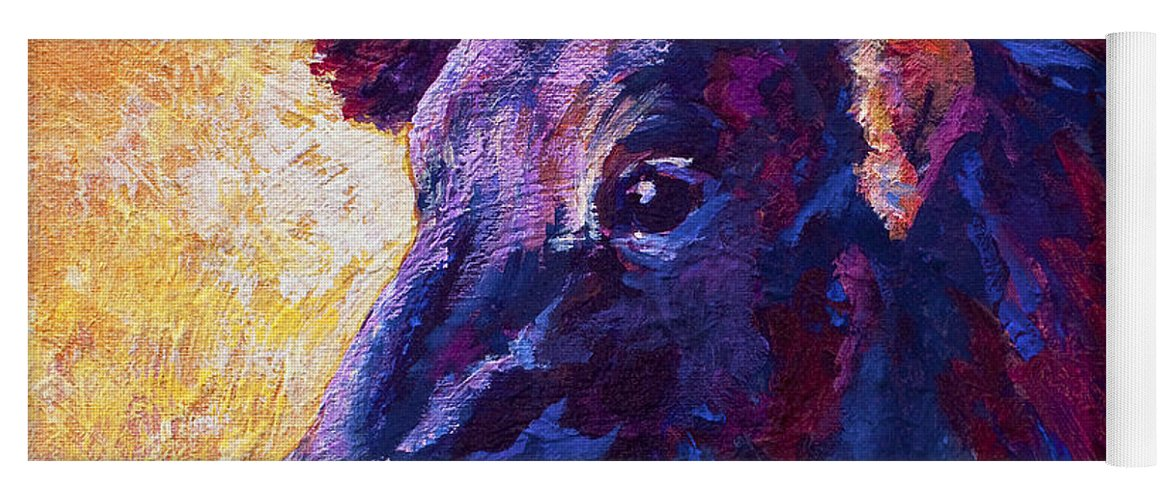 Longhorn Yoga Mat featuring the painting Red Violet by Marion Rose