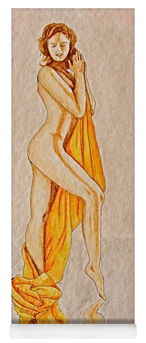 Nude Yoga Mat featuring the painting Reflection by Herschel Fall
