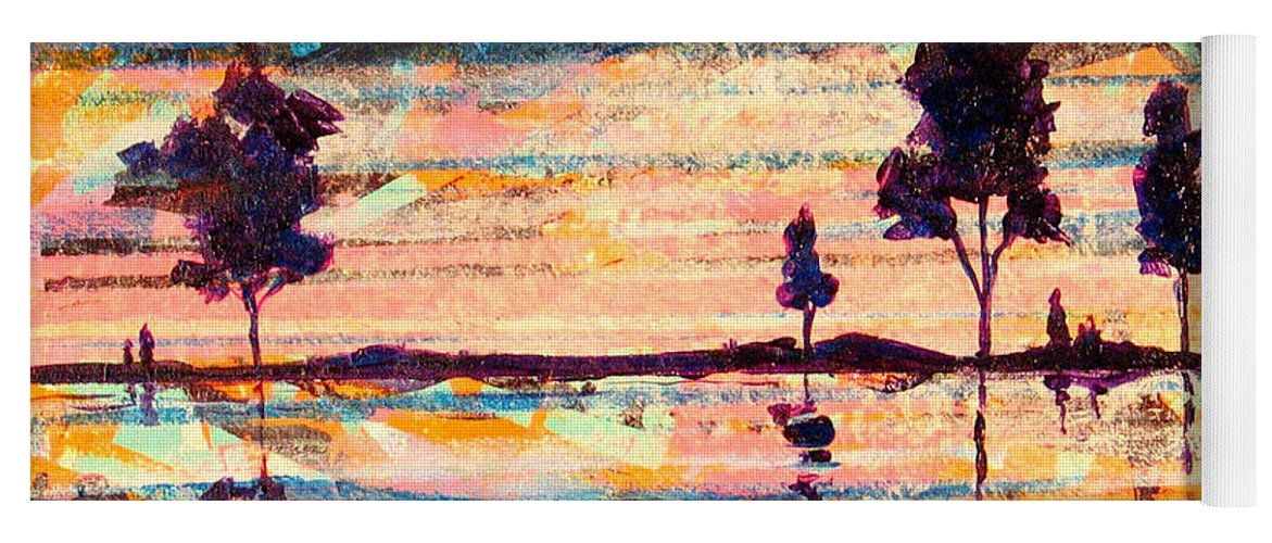 Water Yoga Mat featuring the painting Reflections by Rollin Kocsis