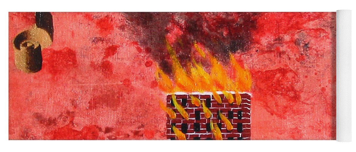 Fire Yoga Mat featuring the painting Repent For the End Times Are Near by Pauline Lim
