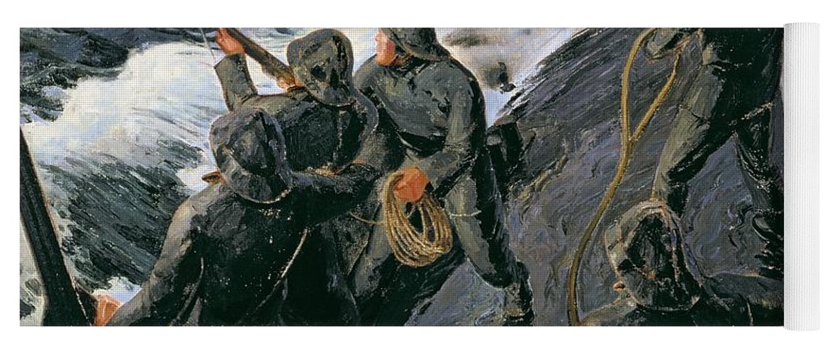 Rescue - Firing A Costen Gun Line (oil On Canvas) By Thomas Harold Beament (1898-1985) Yoga Mat featuring the painting Rescue by Thomas Harold Beament