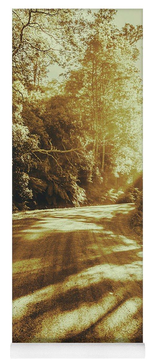 Rainforest Yoga Mat featuring the photograph Retro Rainforest Road by Jorgo Photography - Wall Art Gallery