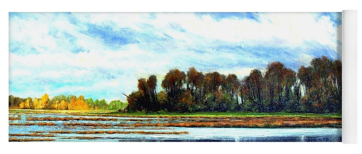 Landscapes Yoga Mat featuring the painting Ridgefield Refuge Early Fall by Jim Gola
