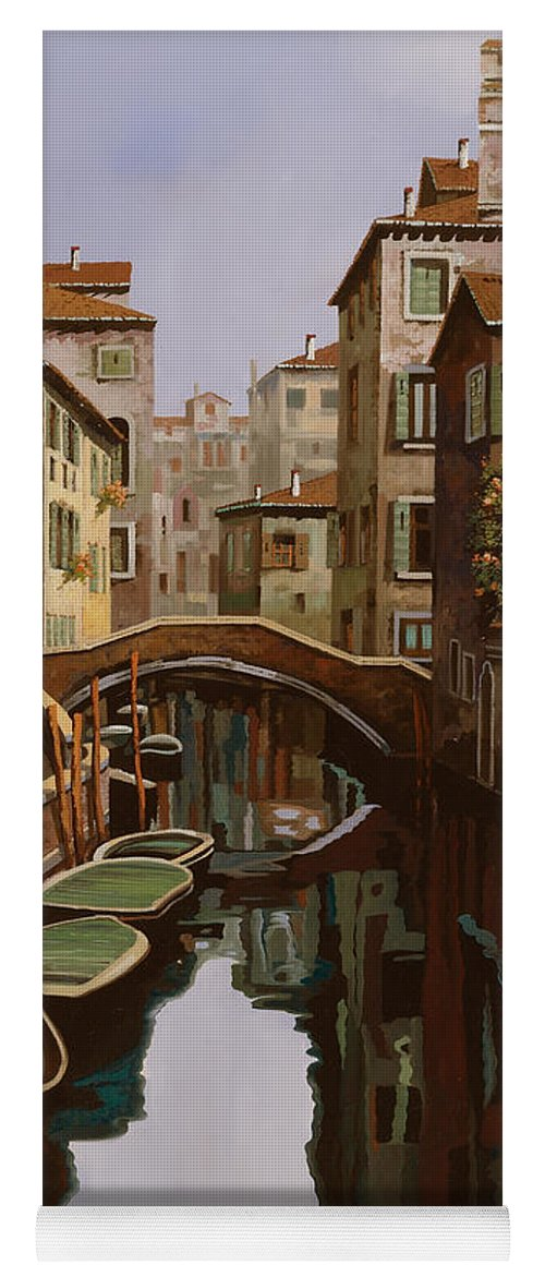 Venice Yoga Mat featuring the painting Riflesso Scuro by Guido Borelli