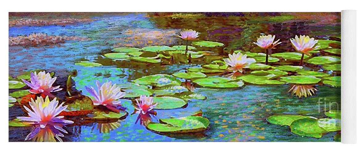 Floral Yoga Mat featuring the painting The Wonder Of Water Lilies by Jane Small