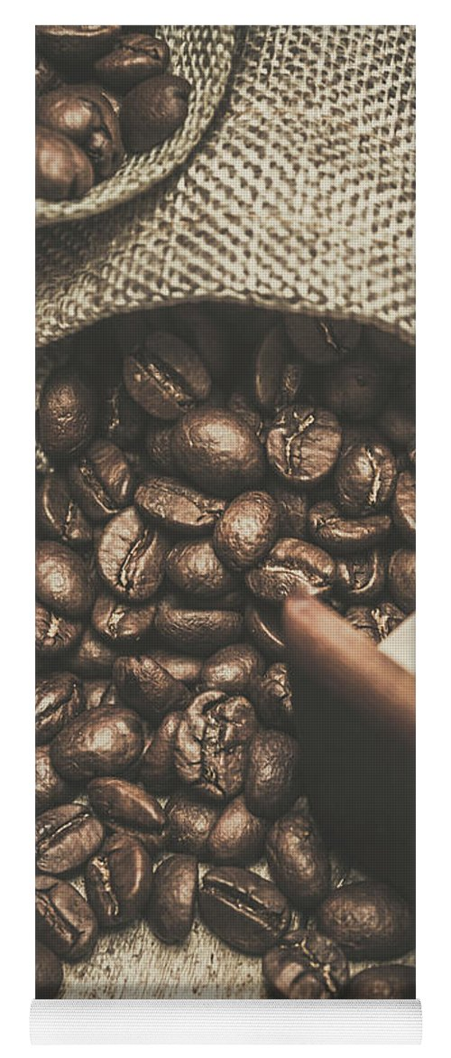 Bean Yoga Mat featuring the photograph Roasted Coffee Beans In Close-up by Jorgo Photography - Wall Art Gallery