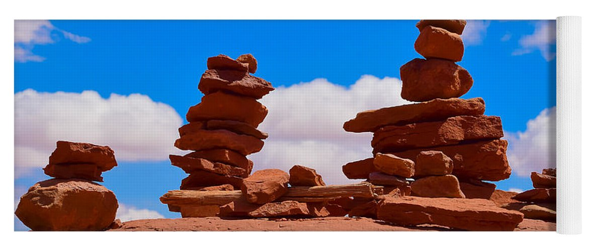 Rock Cairns In The Desert Yoga Mat For Sale By Dany Lison